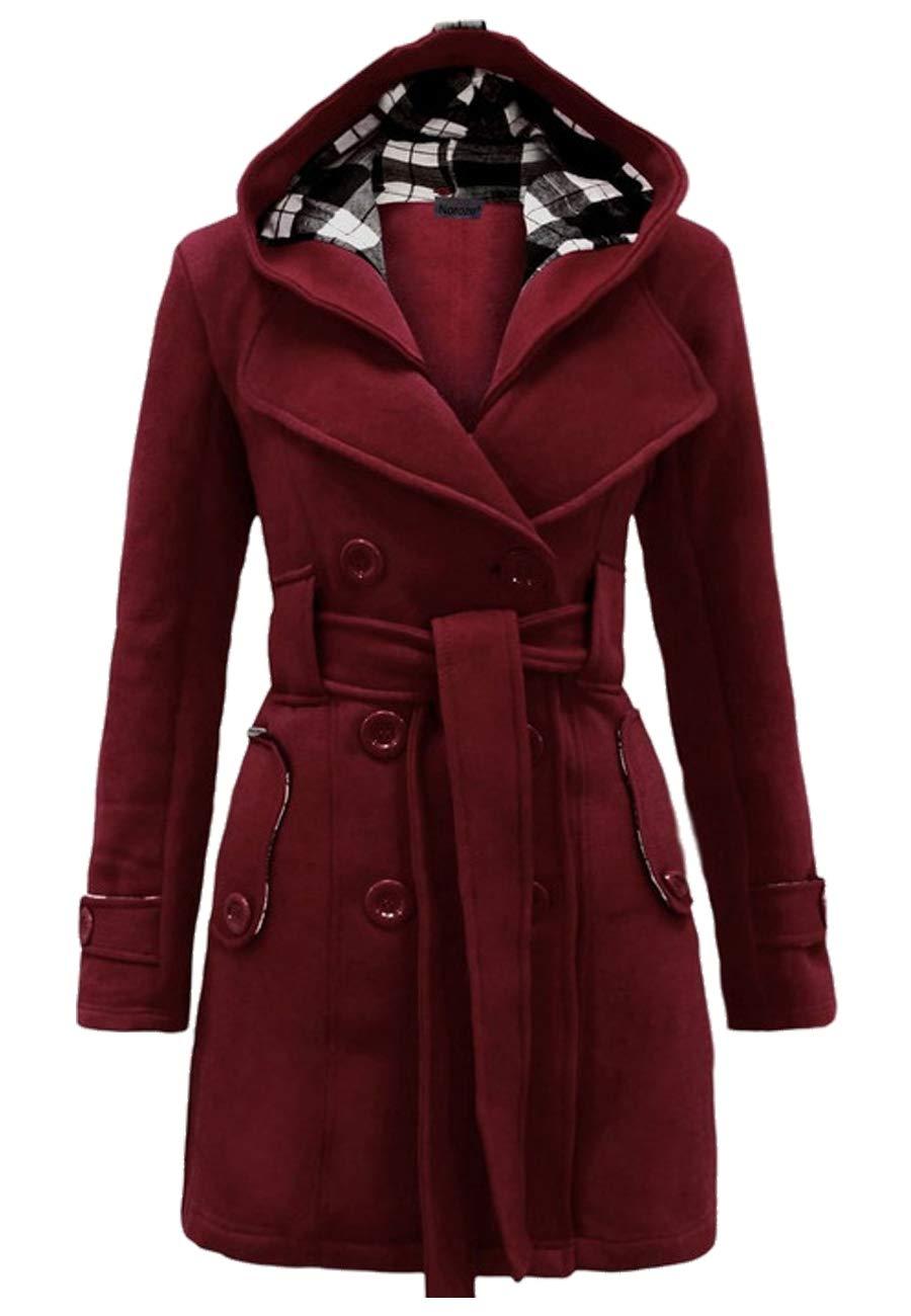 OMZIN Women Solid Lapel Dress Coat Mid Length Trench Coat Winter Wine Red XL by OMZIN