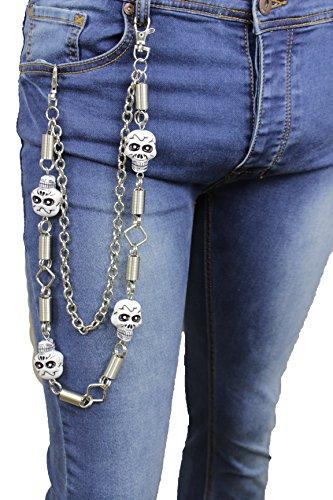 TFJ Men Wallet Chain Biker Fashion Jewelry Metal Studs Spikes Jeans Black Leather Keychain Silver