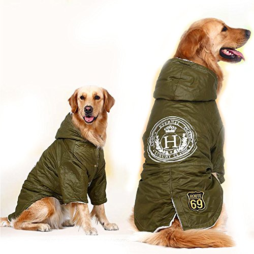 FLAdorepet Army Green Winter Warm Big Large Dog Pet Clothes Hoodie Fleece Golden Retriever Dog Cotton Padded Jacket Coat Clothing for Dog (7XL, Green) ()