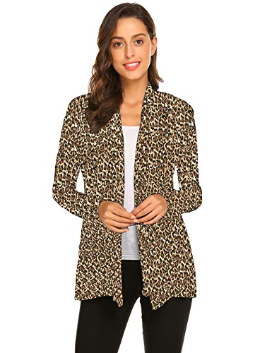 Newchoice Cardigans for Women, Open Front Loose Casual Lightweight Long Sleeve Cardigan Sweaters (Leopard, ()