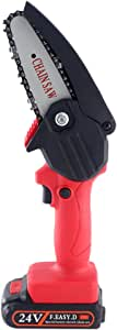 Snowtaros 24V Handheld Chainsaw Protable with Anti Splash Board for Garden Tree Branch Wood Cutting (Charger + 1 Battery)
