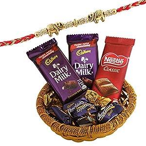 SFU E Com Premium Elephant Design Rakhi with Chocolates   Rakhi Chocolate Gift for Brother   Premium Rakhi Chocolate…