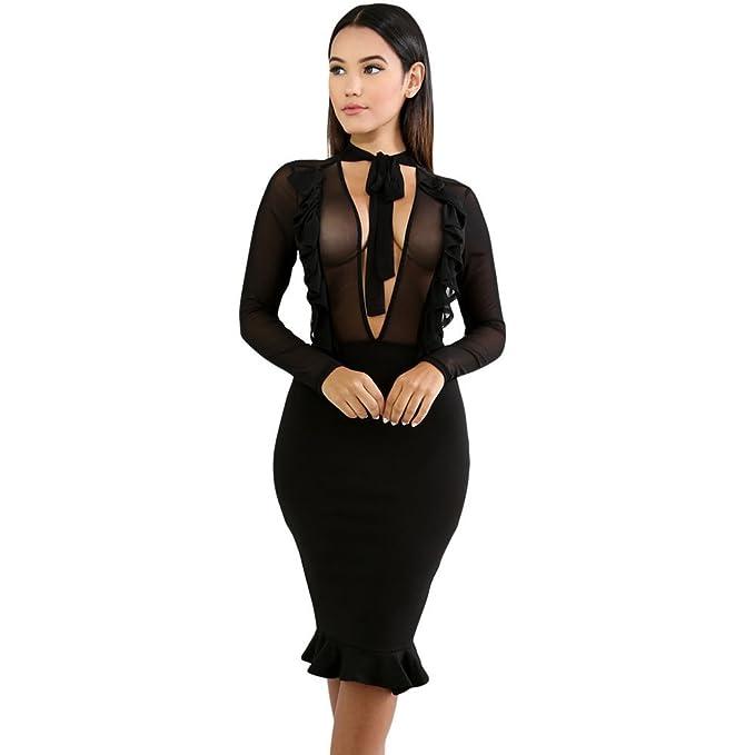 MEI&S La mujer cuello V Parte Formal Bodycon vestido de cóctel ...