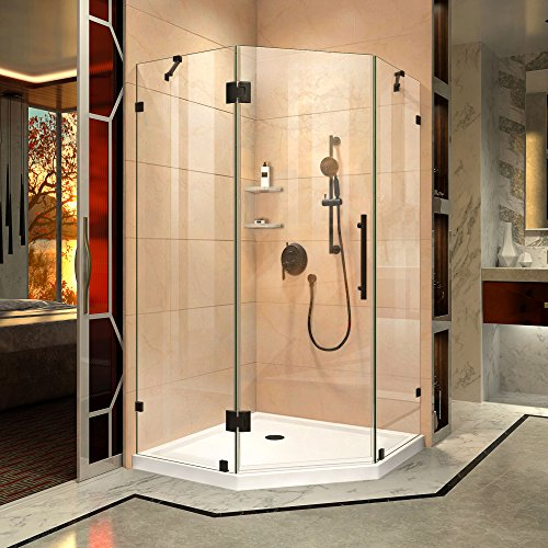 DreamLine Prism Lux 42 in. x 74 3/4 in. Fully Frameless Neo-Angle Shower Enclosure in Oil Rubbed Bronze with White -