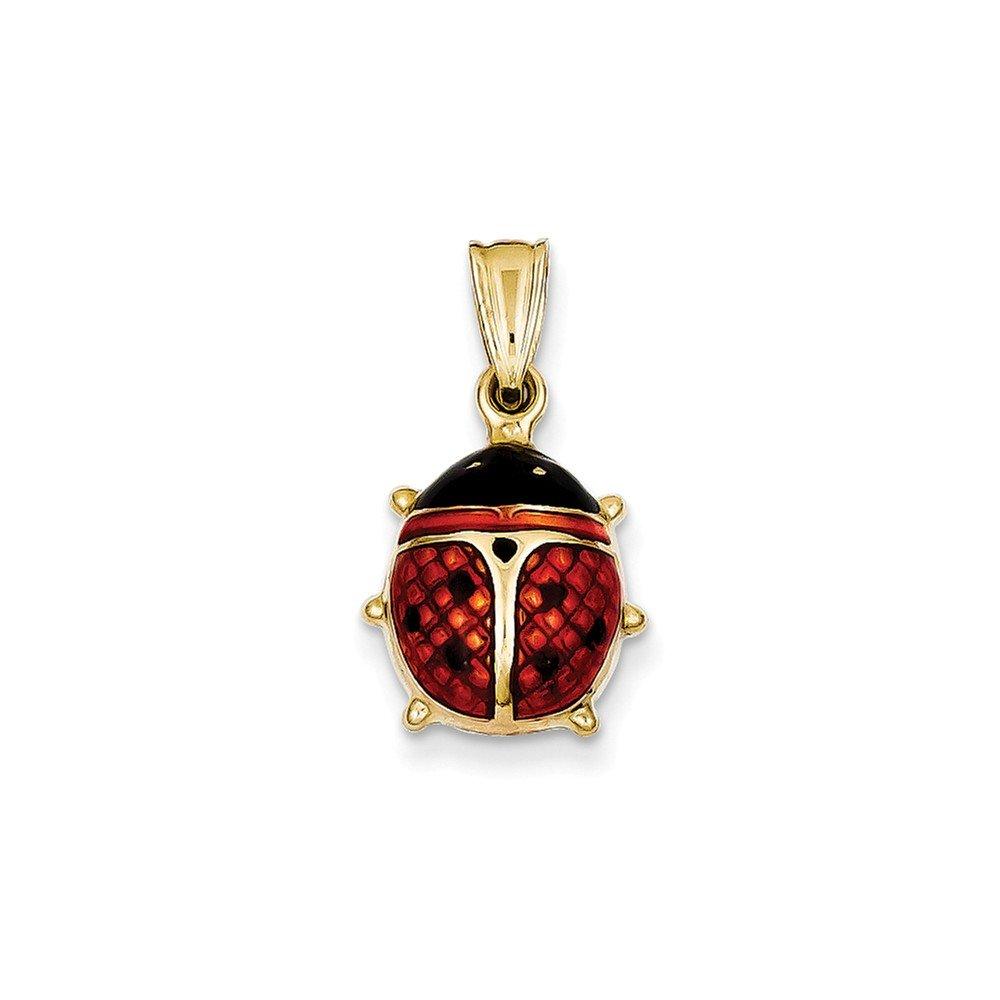 14k White Gold Red Enameled Ladybug Charm Pendant