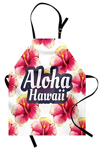 Lunarable Hawaiian Apron, Aloha Hawaii Tropical Flowers Floral Ornament with Wildflowers Classic Design, Unisex Kitchen Bib Apron with Adjustable Neck for Cooking Baking Gardening, Yellow Pink ()