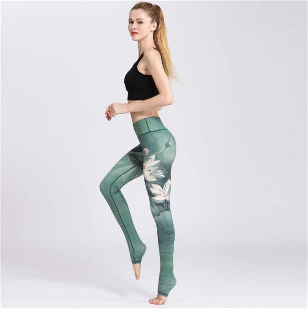 XL/_nsyjk Pantalones Delgados de la Aptitud de la Yoga de la impresi/ón de la Tinta de Las se/ñoras