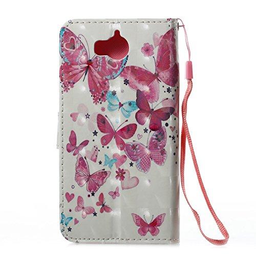 Lotuslnn Huawei Y5 2017 / Y6 2017 plus caja del teléfono, caja de cuero de la PU cubierta de cierre magnético cubierta con Kickstand y ranuras para tarjetas de bolsillo en efectivo para Huawei Y5 2017 Big Butterfly pink
