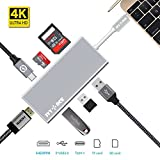 USB C Hub,IVYOCK USB-C Adapter Multi-ports with Type C Charging Port,4K HDMI VGA,SD/Micro SD Card Reader,3 USB 3.0 Ports for MacBook pro iMac,Pixelbook,Yoga,Dell XPS and other Type C Devices - Silver
