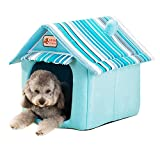 Quno Dog House Kennel Cushion Foldable Pet Cat Bed Soft Warm Mat Indoor Blue L