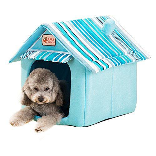 Quno Dog House Kennel Cushion Foldable Pet Cat Bed Soft Warm Mat Indoor Blue L by Quno