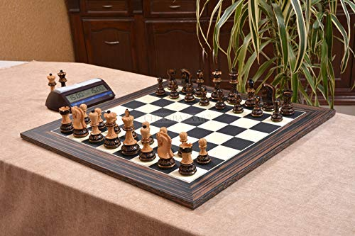 Combo of 1959 Reproduced Russian Zagreb Staunton Series Chess Set in Burnt & Natural Boxwood & Tiger Ebony Maple Chess Board - 3.75
