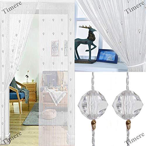 Timere Crystal Beaded Curtain Tassel Curtain - Partition Door Curtain Beaded String Curtain Door Screen Panel Home Decor Divider Crystal Tassel Screen 90x200cm ()