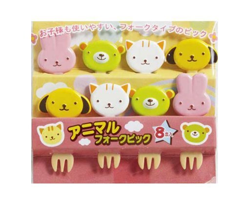 CuteZCute Bento Food Pick, 8-Piece, 4 Designs, Animal Fork
