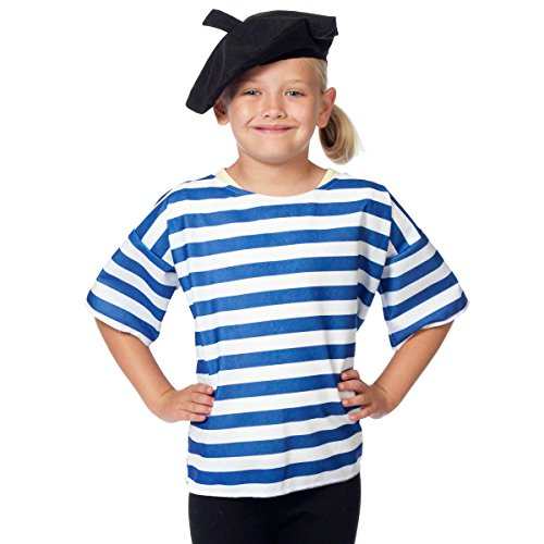 Charlie Crow French Shirt and Beret Costume for Kids 3-9 -