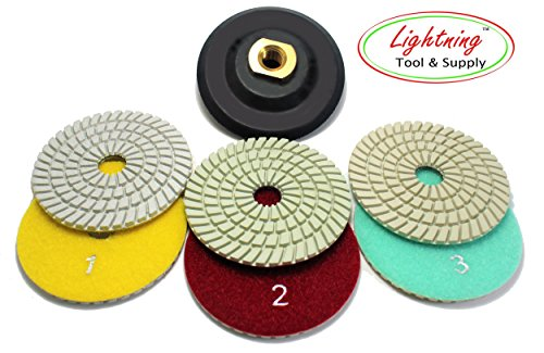 """Lightning Tool & Supply Pro-Series 4"""" Inch Wet/Dry Diamond Polishing Pads 3-Step Set with Rubber Backer for Granite, Marble, and Natural Stone"""