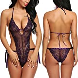 ADOME Women Lace Lingerie Deep V Halter Bodysuit One Piece Teddy Purple Small