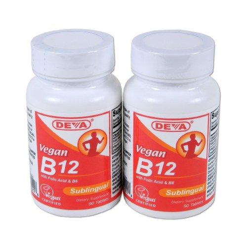 Deva Vegan Vitamines Sublingual B-12, 90 comprimés (lot de 2)