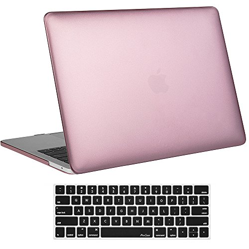 ProCase MacBook Pro 15 Case 2018 2017 2016 Release A1990/A1707, Hard Case Shell Cover and Keyboard Cover for Apple MacBook Pro 15 (2018/2017/2016) with Touch Bar and Touch ID -Rose Gold
