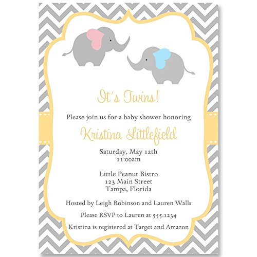 Elephant,Baby Shower, Twins Baby Shower, Invitation, Chevron, Yellow, Gray, Pink, Blue, Twins, Boy and Girl Twins, Fraternal, 10 Pack Custom Invites with White Envelopes