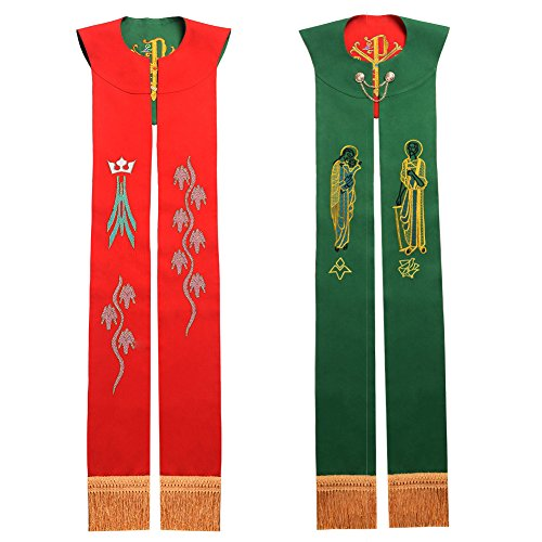 BLESSUME Priest Reversible Stole Embroidered Chasuble Stole by BLESSUME
