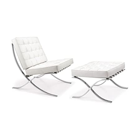 Barcelona Chair U0026 Footstool   White Leather