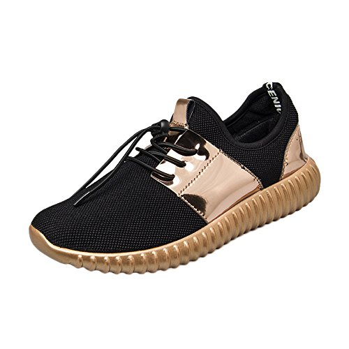 Emimarol Women Sport Shoes Patchwork Patent Leather Mesh Shoes Fashion Casual Beathable Lace-up Sneakers - Patent Mens Stripe Sneakers