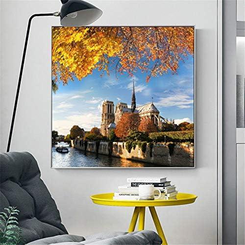 現代風景のポスターと版画壁アートキャンバス絵画ノートルダム・ド・パリ写真用リビングルーム家の装飾50×50センチなしフレーム