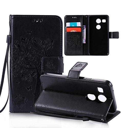 OuDu Funda LG Nexus 5X Carcasa de Billetera Funda PU Cuero para LG Nexus 5X Carcasa Suave protector con Correas de Teléfono Funda Arbol Flip Wallet Case Cover Bumper Carcasa Flexible Ligero Ultra Delg