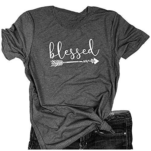 - Qrupoad Women Blessed Shirt Thanksgiving T-Shirt Christian Graphic Tees Shirts for Religious Gift