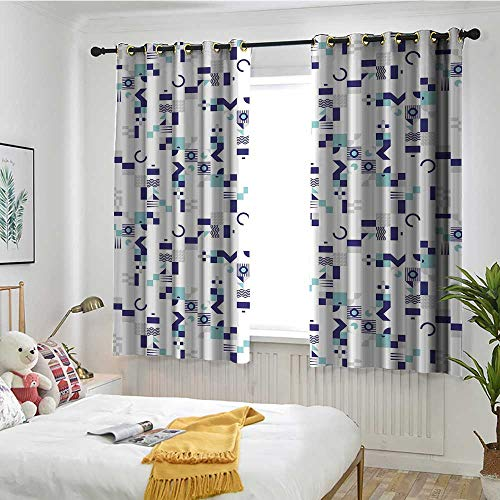 MaryMunger Mid Century Custom Curtain Art Deco Inspired Pattern from Seventies with Geometrical Shapes Blackout Draperies for Bedroom W 55