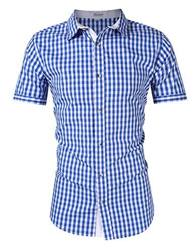 KoJooin Men's Long Sleeve Checkered Bavarian Oktoberfest Shirt For Lederhosen (L, (Checkered Shirt Costume)