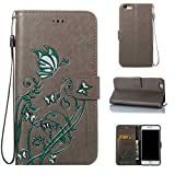 iPhone 6 Case iPhone 6s Case, CUSKING Wallet Case Butterfly Flower Pattern Kickst