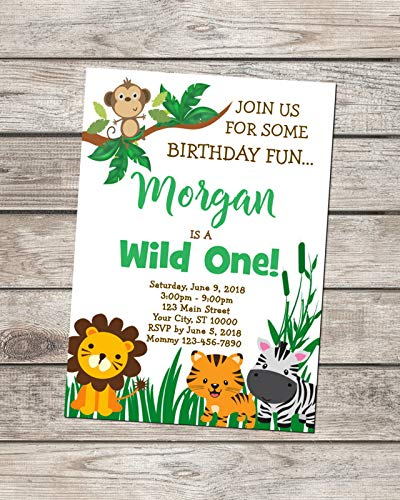 Image Unavailable Not Available For Color Wild One Birthday Invitation Jungle Animals