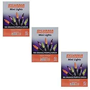 Sylvania Halloween Series Indoor/Outdoor Mini Lights - 100 Orange/Purple/Green (3 Pack)