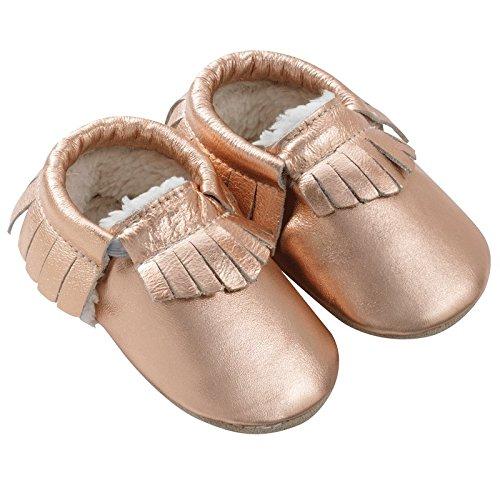 714762ad60622 Tichoups chaussons cuir souple à franges fourrés rose métallique ...