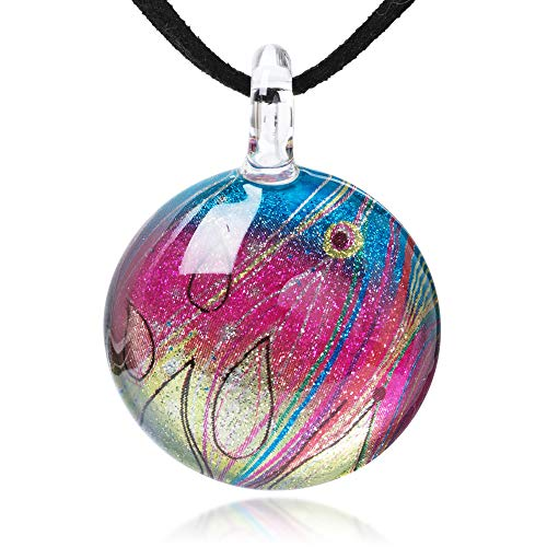 (Chuvora Hand Blown Glass Jewelry Vibrant Abstract Rainbow Colors Art Line Round Pendant Necklace, 17-19