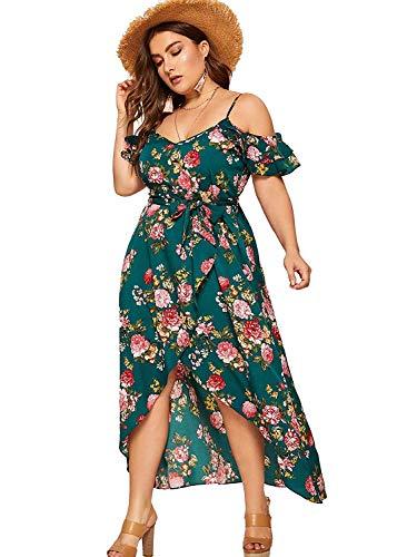 Milumia Women Plus Size Cold Shoulder Boho Floral Dress Split Maxi Green 2X