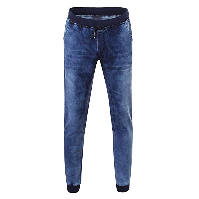 Hombre pantalones Vaqueros invierno otoño,Pantalones mezclilla de hombre denim color puro delgado dobladillo elástico casual diario con bolsillos para ...