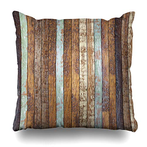 Vintage Floorboards - Ahawoso Throw Pillow Cover Square 16x16 Rustic Color Vintage Aged Wooden Coarse Grace Wood Floorboard Ancient Panel Table Wall Zippered Cushion Case Home Decor Pillowcase