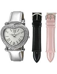 Peugeot Womens Heart Shaped Interchangeable Crystal Set Watch