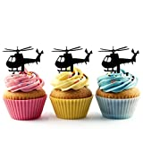 TA0140 Helicopter Silhouette Party Wedding Birthday Acrylic Cupcake Toppers Decor 10 pcs