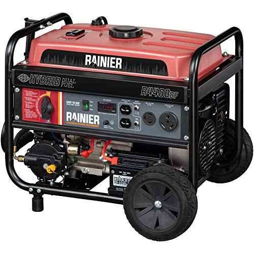 Rainier R4400DF Dual Fuel (Gas and Propane) Portable Generator with Electric Start – 4400 Peak Watts & 3600 Rated Watts – CARB Compliant