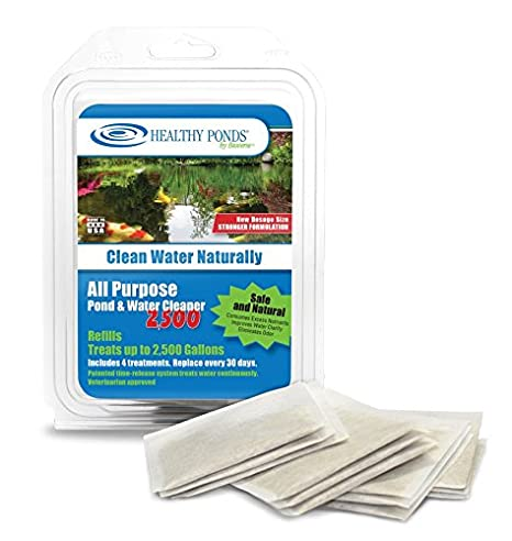 Healthy Ponds 52450 Refills for All Purpose Pond /& Water Cleaner 2,500; 4 30-Day Refills Treat up to 2,500 Gallons for 120 Days