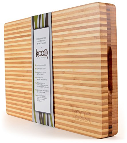 Reversible Butcher Block - High-End Reversible Cutting Board - The Most SOPHISTICATED Serving and Chopping Block on the market! Cutting Board on one side for cutting and chopping. Butcher's Block and Cheese Board all in one!