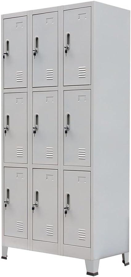Festnight Mueble Archivador Armario de oficina Acero Con 9 Compartimentos y Con un Espejo Gris 90 x 45 x 180 cm