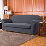 subrtex Sofa Cover 2 Piece Stretch Couch Slipcovers Furniture Protector for Armchair Loveseat Washable Soft Jacquard Fabric Anti Slip, Large, Gray