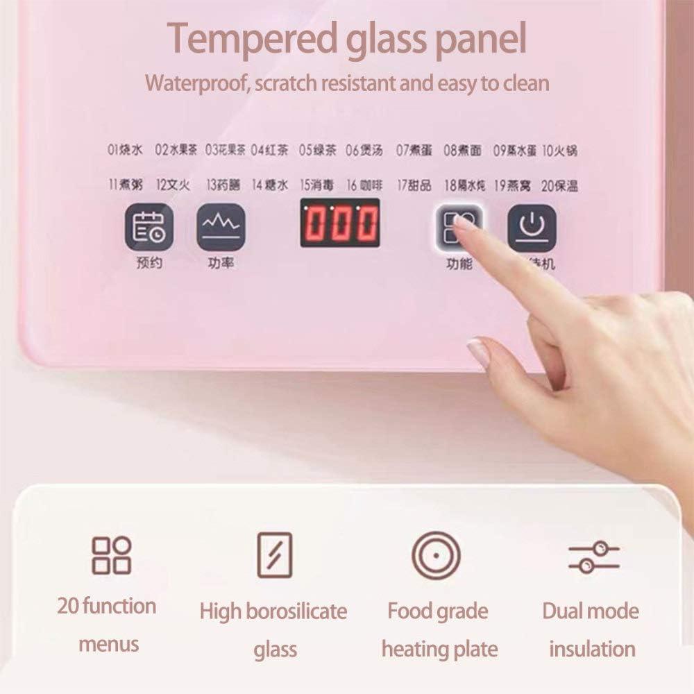 JI TA Bollitore Elettrico Temperatura Regolabile, Bollitore Elettrico Vetro 1.8L, 800W, Mantenere Caldo, Arresto Automatico, BPA Free, Impostazione della temperatura/Pink Marrone