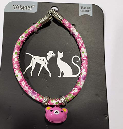 Emily Pets Adjustable Cat Collar Necklace with Bell for Kitten Puppy (Pink)