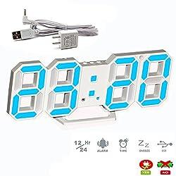 LambTown 3D Led Digital Wall Clock with Desktop Stand Modern Design Mutifunction with Date Temperature Display Brightness Adjustable - Blue